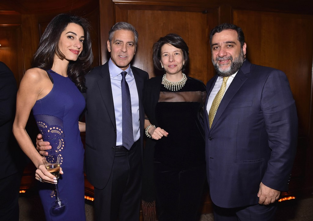 NEW YORK, NY - MARCH 10: (L-R) Amal Clooney, George Clooney, guest and Ruben Vardanian attend the 100 LIVES initiative, to express gratitude to the individuals and institutions whose heroic actions saved Armenian lives during the Genocide 100 years ago, on March 10, 2015 in New York City. The program, led by Ruben Vardanyan, Vartan Gregorian and Noubar Afeyan, establishes the Aurora Prize for Awakening Humanity as a means to empower modern-day saviors. During the event, the group reiterated the need to combat genocide and advance human rights efforts. (Photo by Mike Coppola/Getty Images for 100 LIVES)