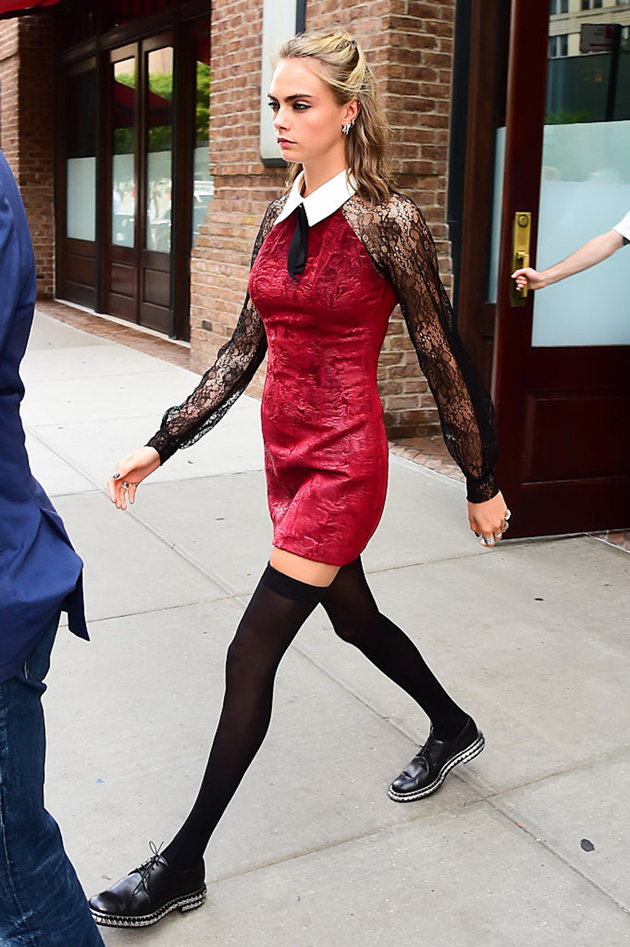 NEW YORK, NY - AUGUST 01: Model/Actress Cara Delevingne is seen on August 1, 2016 in New York City. (Photo by Raymond Hall/GC Images)